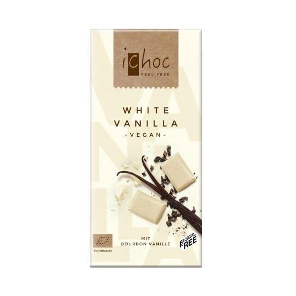 iChoc WHITE VANILLA mit Bourbon Vanille, Bio, 80g