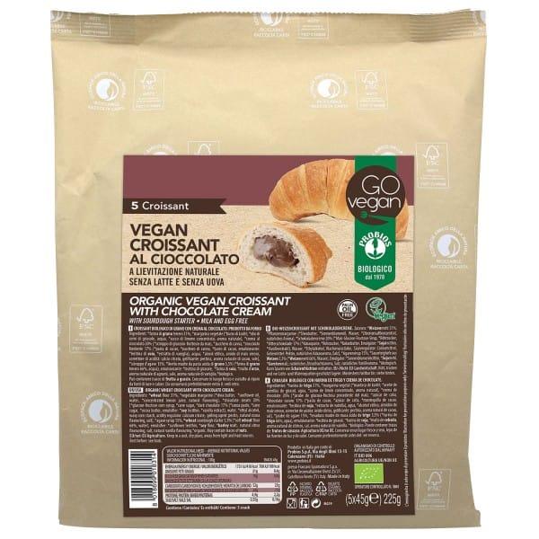 GOvegan WEIZENCROISSANTS mit Schokoladencreme, BIO, 5x45g (225g)