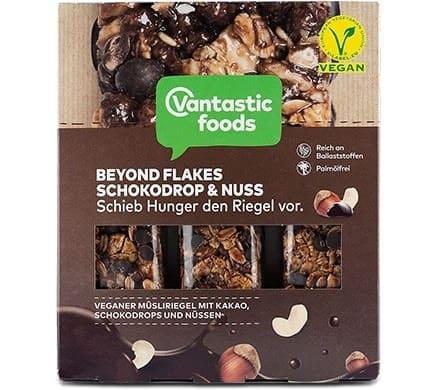 Vantastic foods BEYOND FLAKES Müsliriegel Schokodrop & Nuss, 90g
