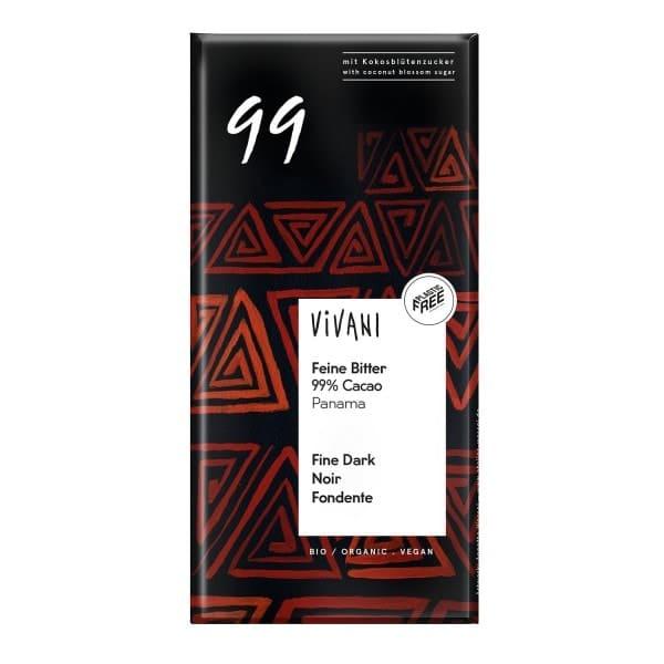 Vivani FEINE BITTER 99% CACAO Schokolade, BIO, 80g