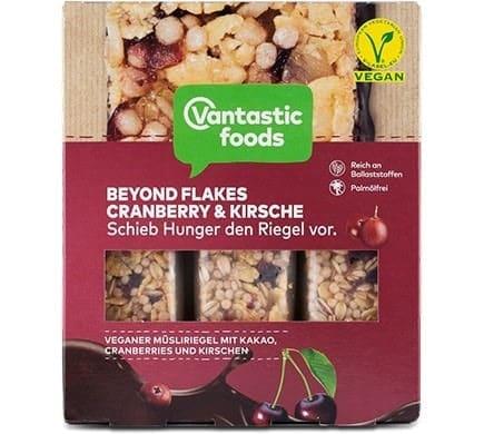 Vantastic foods BEYOND FLAKES Müsliriegel Cranberry-Kirsche, 90g