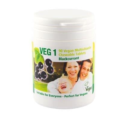 VEG 1 Vitaminsupplement Schwarze Johannisbeere, 90 Kautabletten