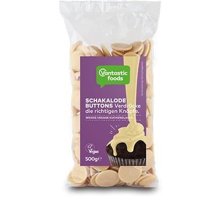 Vantastic foods SCHAKALODE Buttons weiß, 500g