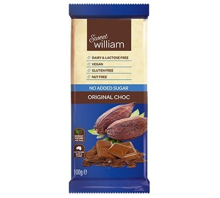 Sweet William ORIGINAL CHOC ohne Zuckerzusatz, 100g