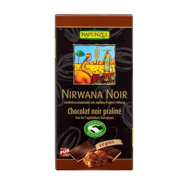 Rapunzel NIRWANA NOIR Zartbitterschokolade mit dunkler Praliné-Füllung, BIO, 100g