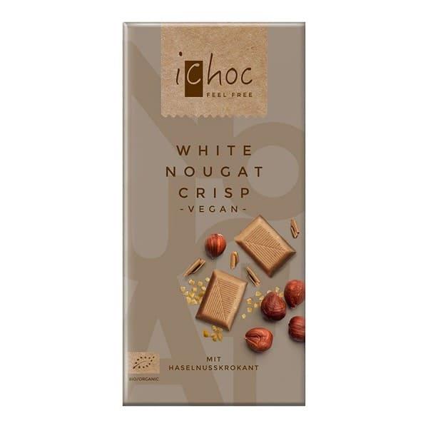 iChoc WHITE NOUGAT CRISP mit Haselnusskrokant, BIO, 80g